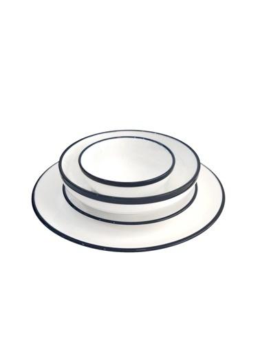 Arow Beyaz Lacivert 6 Kişilik 24 Parça Yemek Takımı Beyaz